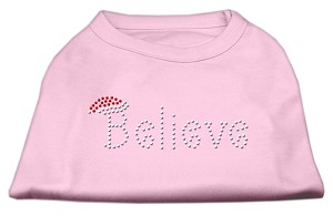 Believe Rhinestone Shirts Light Pink L